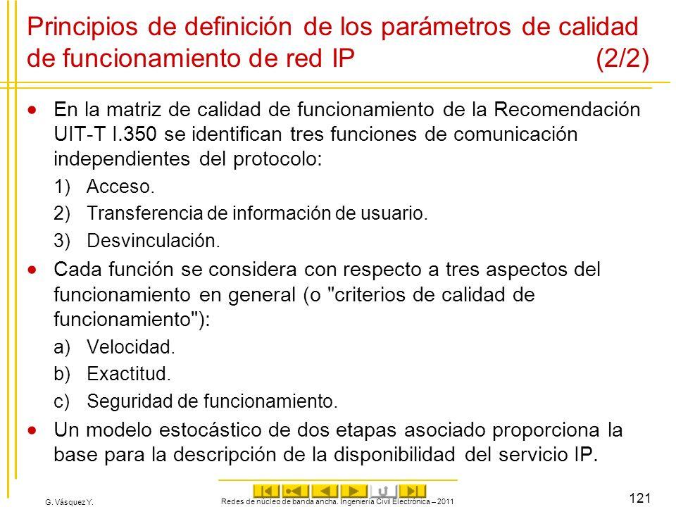 G. Vásquez Y. Principios de definición de los parámetros de calidad de funcionamiento de red IP (2/2) En la matriz de calidad de funcionamiento de la