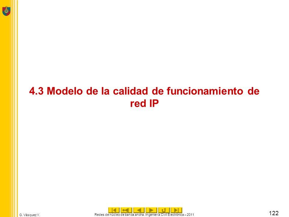 G. Vásquez Y. 4.3 Modelo de la calidad de funcionamiento de red IP Redes de núcleo de banda ancha. Ingeniería Civil Electrónica – 2011 122