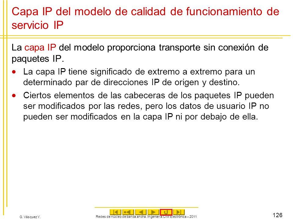 G. Vásquez Y. Redes de núcleo de banda ancha. Ingeniería Civil Electrónica – 2011 126 Capa IP del modelo de calidad de funcionamiento de servicio IP L