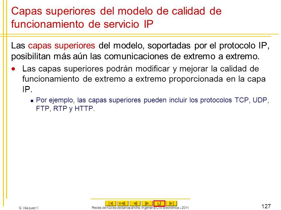 G. Vásquez Y. Capas superiores del modelo de calidad de funcionamiento de servicio IP Las capas superiores del modelo, soportadas por el protocolo IP,