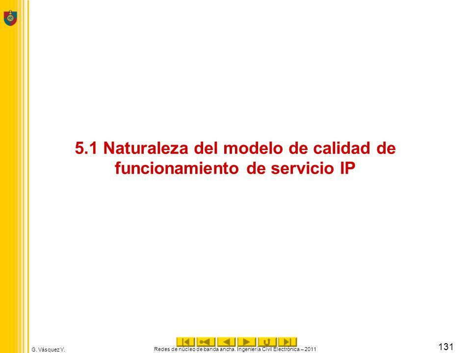 G. Vásquez Y. 5.1 Naturaleza del modelo de calidad de funcionamiento de servicio IP Redes de núcleo de banda ancha. Ingeniería Civil Electrónica – 201