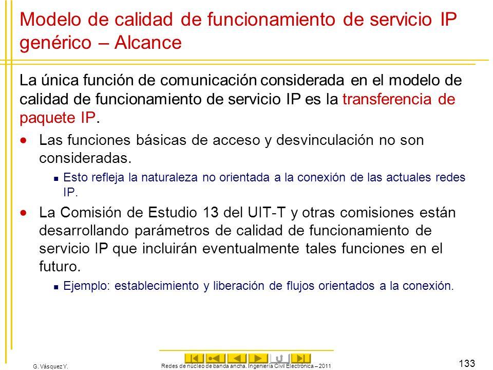 G. Vásquez Y. Modelo de calidad de funcionamiento de servicio IP genérico – Alcance La única función de comunicación considerada en el modelo de calid