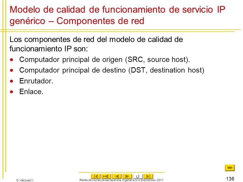 G. Vásquez Y. Modelo de calidad de funcionamiento de servicio IP genérico – Componentes de red Los componentes de red del modelo de calidad de funcion