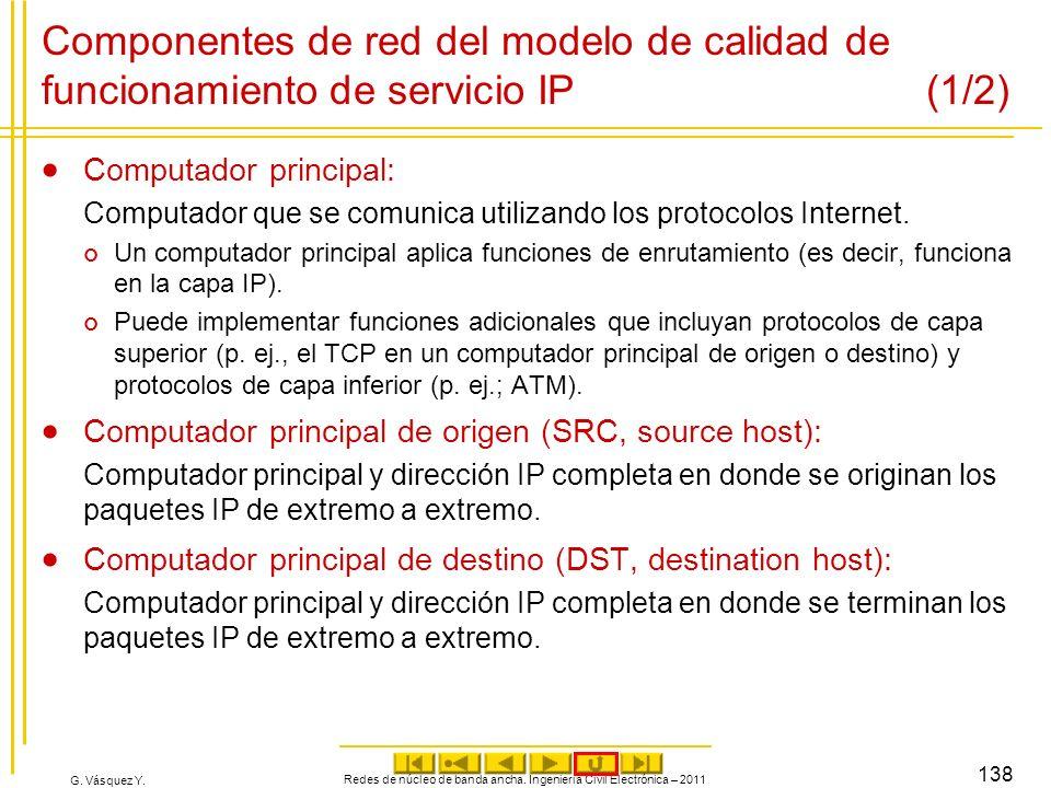 G. Vásquez Y. Componentes de red del modelo de calidad de funcionamiento de servicio IP (1/2) Computador principal: Computador que se comunica utiliza