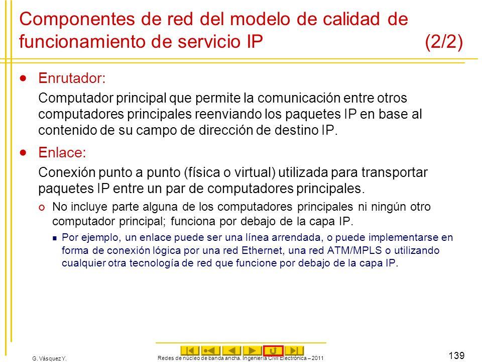 G. Vásquez Y. Componentes de red del modelo de calidad de funcionamiento de servicio IP (2/2) Enrutador: Computador principal que permite la comunicac