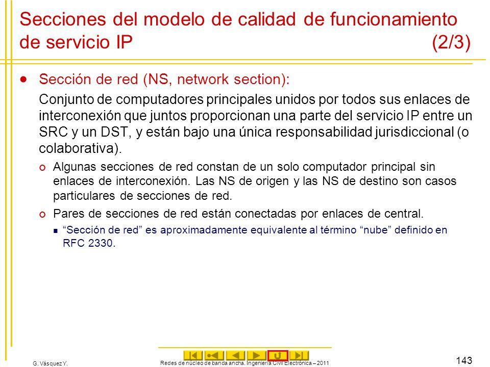 G. Vásquez Y. Secciones del modelo de calidad de funcionamiento de servicio IP (2/3) Sección de red (NS, network section): Conjunto de computadores pr