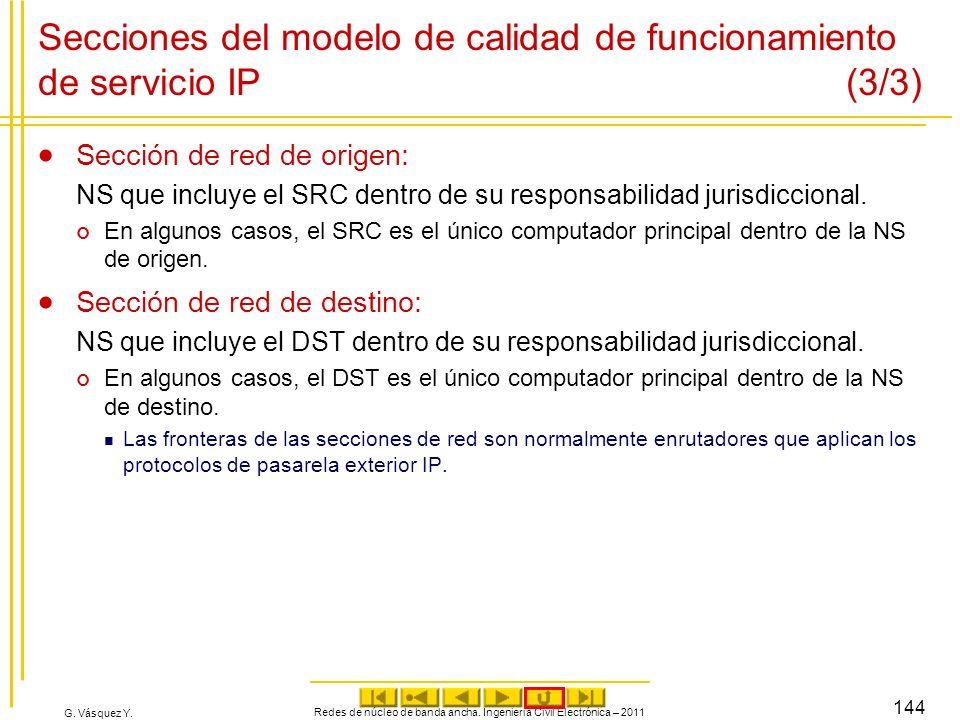 G. Vásquez Y. Secciones del modelo de calidad de funcionamiento de servicio IP (3/3) Sección de red de origen: NS que incluye el SRC dentro de su resp