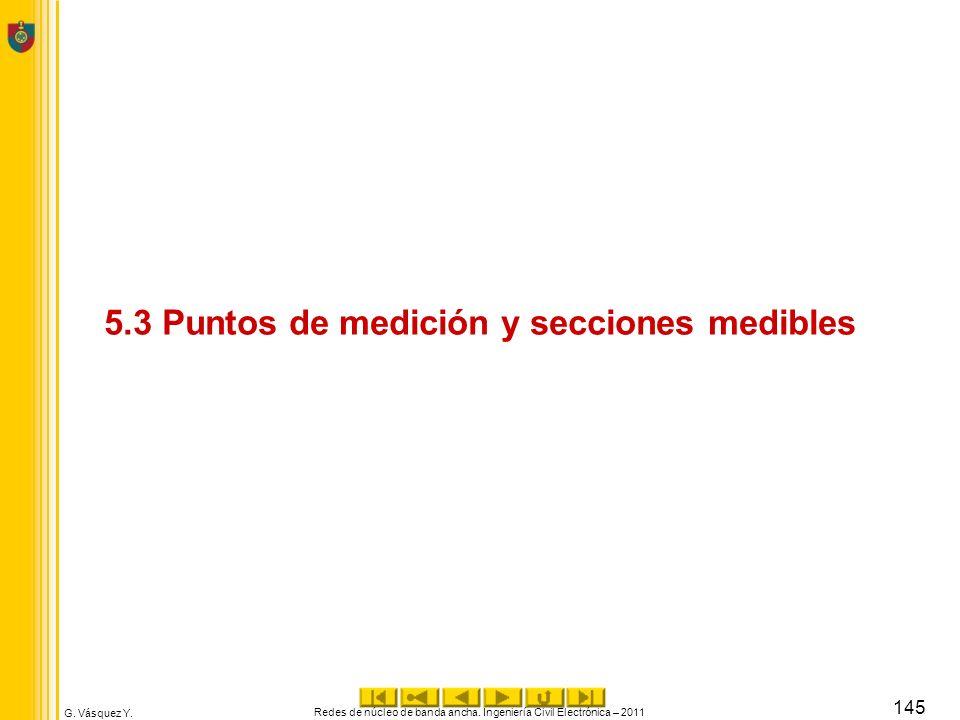 G. Vásquez Y. 5.3 Puntos de medición y secciones medibles Redes de núcleo de banda ancha. Ingeniería Civil Electrónica – 2011 145