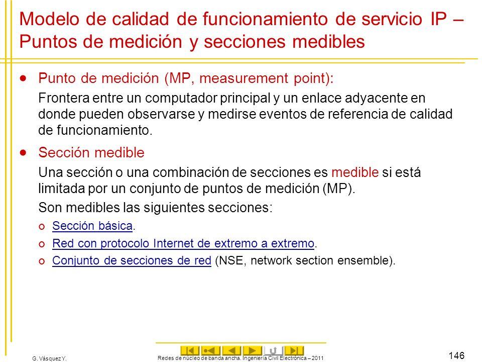 G. Vásquez Y. Modelo de calidad de funcionamiento de servicio IP – Puntos de medición y secciones medibles Punto de medición (MP, measurement point):