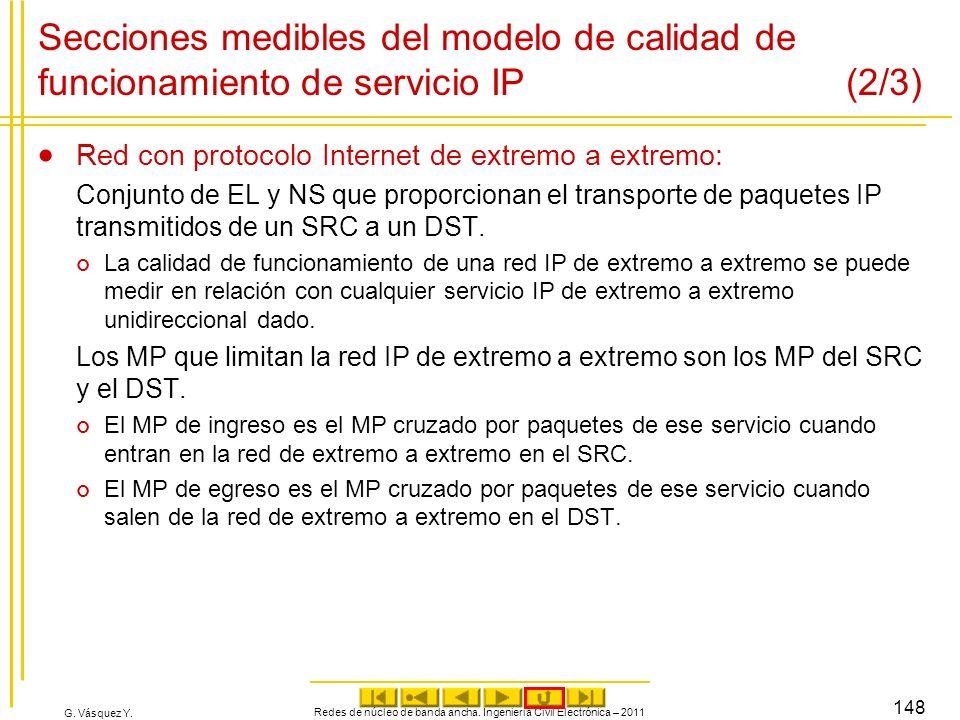 G. Vásquez Y. Redes de núcleo de banda ancha. Ingeniería Civil Electrónica – 2011 148 Secciones medibles del modelo de calidad de funcionamiento de se