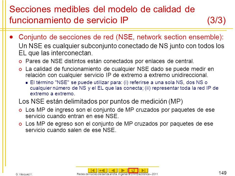 G. Vásquez Y. Redes de núcleo de banda ancha. Ingeniería Civil Electrónica – 2011 149 Secciones medibles del modelo de calidad de funcionamiento de se