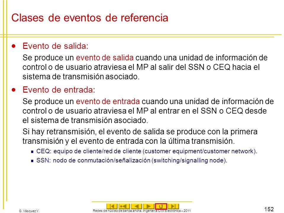G. Vásquez Y. Clases de eventos de referencia Evento de salida: Se produce un evento de salida cuando una unidad de información de control o de usuari
