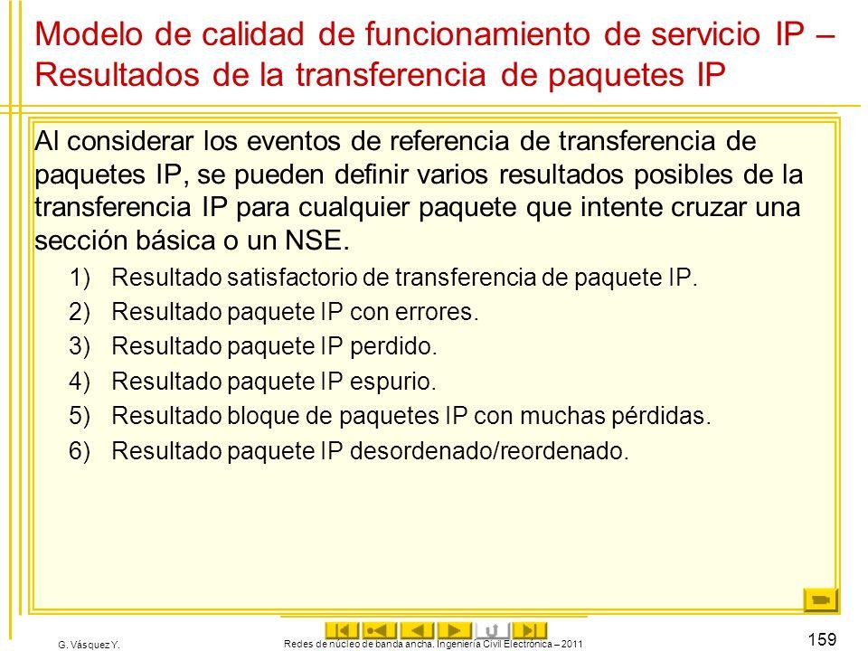 G. Vásquez Y. Modelo de calidad de funcionamiento de servicio IP – Resultados de la transferencia de paquetes IP Al considerar los eventos de referenc