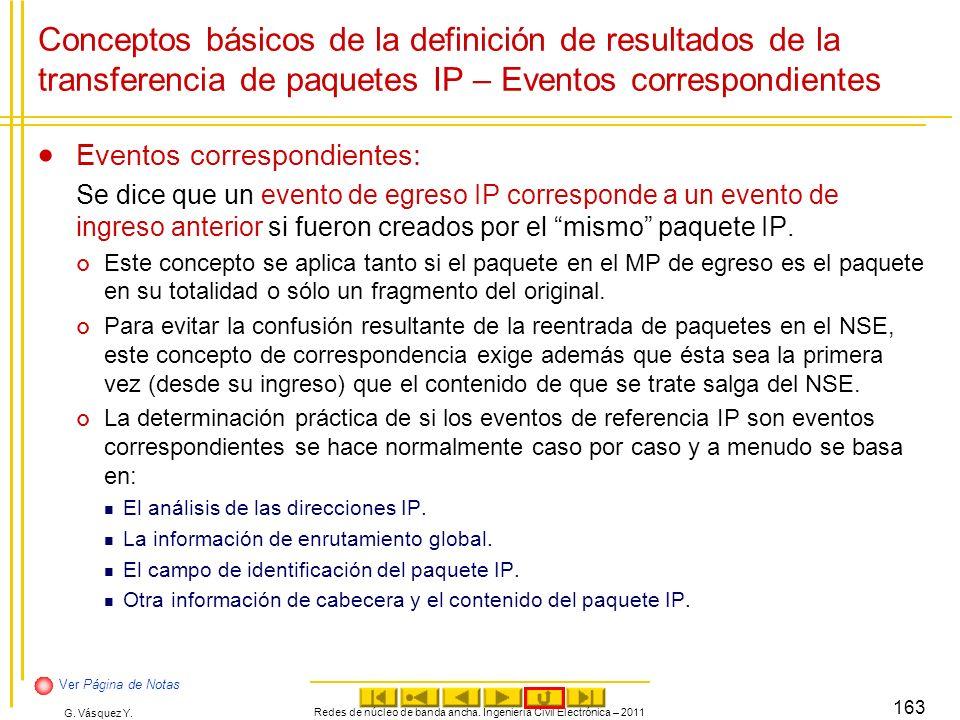 G. Vásquez Y. Conceptos básicos de la definición de resultados de la transferencia de paquetes IP – Eventos correspondientes Eventos correspondientes: