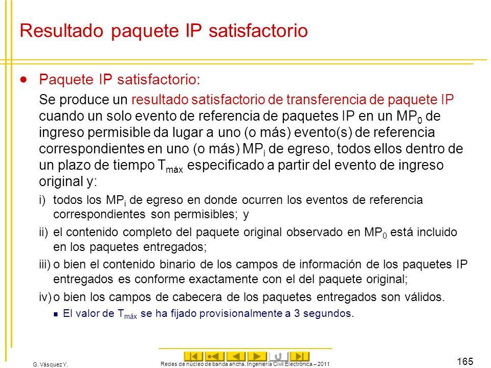 G. Vásquez Y. Resultado paquete IP satisfactorio Paquete IP satisfactorio: Se produce un resultado satisfactorio de transferencia de paquete IP cuando
