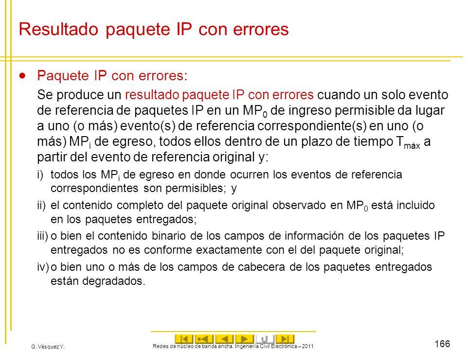 G. Vásquez Y. Resultado paquete IP con errores Paquete IP con errores: Se produce un resultado paquete IP con errores cuando un solo evento de referen