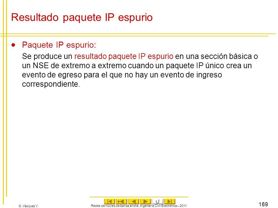 G. Vásquez Y. Resultado paquete IP espurio Paquete IP espurio: Se produce un resultado paquete IP espurio en una sección básica o un NSE de extremo a