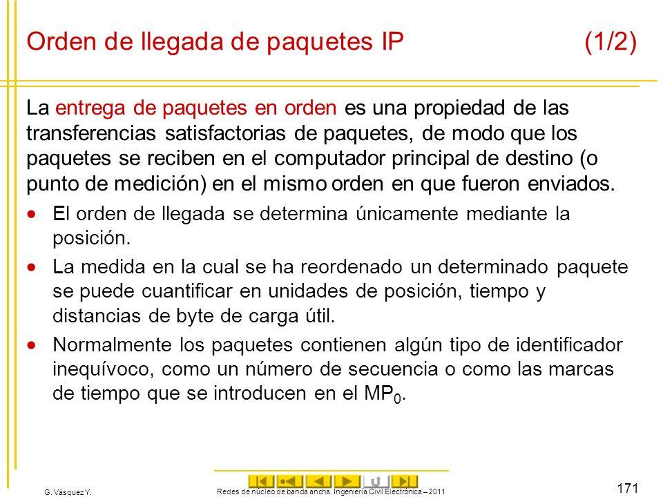 G. Vásquez Y. Orden de llegada de paquetes IP (1/2) La entrega de paquetes en orden es una propiedad de las transferencias satisfactorias de paquetes,
