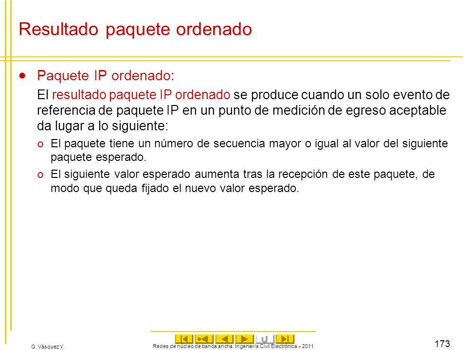 G. Vásquez Y. Resultado paquete ordenado Paquete IP ordenado: El resultado paquete IP ordenado se produce cuando un solo evento de referencia de paque