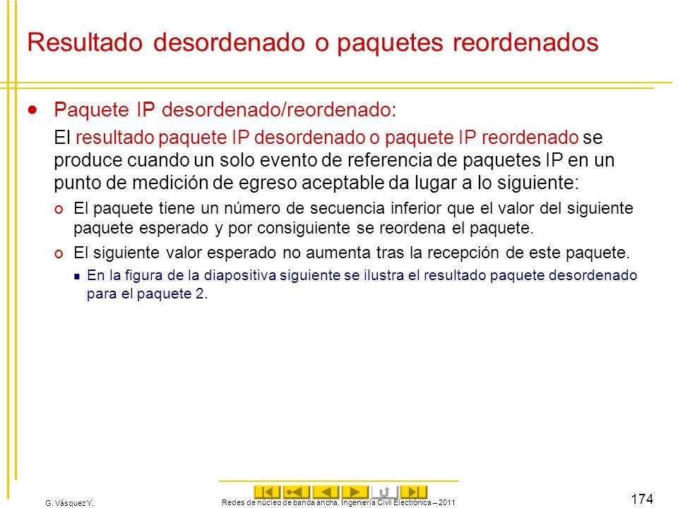 G. Vásquez Y. Resultado desordenado o paquetes reordenados Paquete IP desordenado/reordenado: El resultado paquete IP desordenado o paquete IP reorden