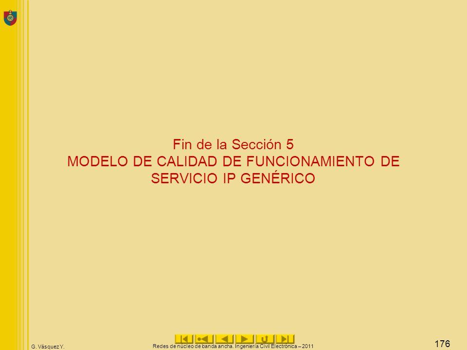 G. Vásquez Y. Fin de la Sección 5 MODELO DE CALIDAD DE FUNCIONAMIENTO DE SERVICIO IP GENÉRICO Redes de núcleo de banda ancha. Ingeniería Civil Electró