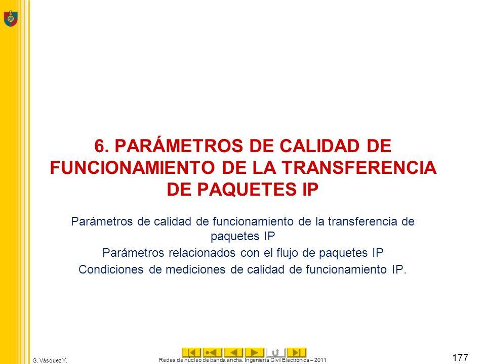G. Vásquez Y. 6. PARÁMETROS DE CALIDAD DE FUNCIONAMIENTO DE LA TRANSFERENCIA DE PAQUETES IP Parámetros de calidad de funcionamiento de la transferenci