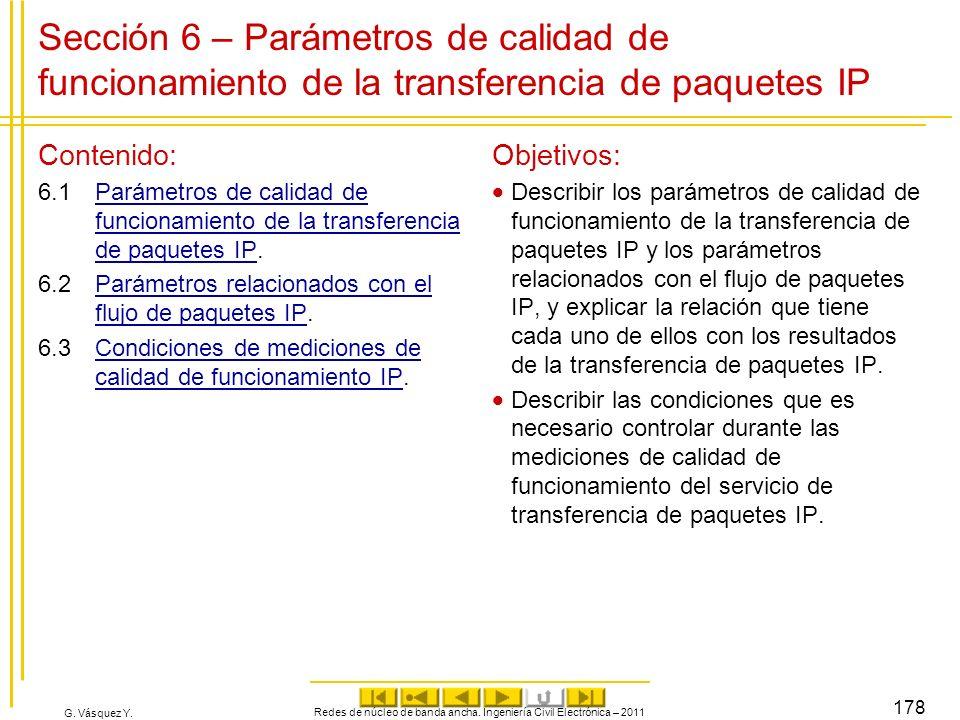 G. Vásquez Y. Sección 6 – Parámetros de calidad de funcionamiento de la transferencia de paquetes IP Contenido: 6.1Parámetros de calidad de funcionami