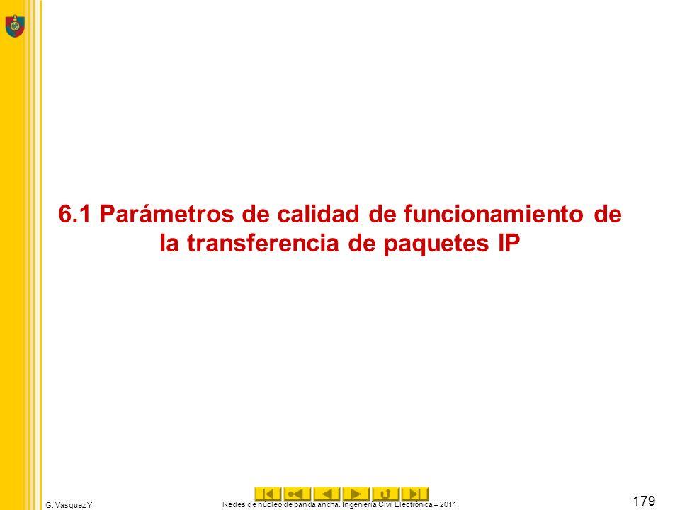 G. Vásquez Y. 6.1 Parámetros de calidad de funcionamiento de la transferencia de paquetes IP Redes de núcleo de banda ancha. Ingeniería Civil Electrón