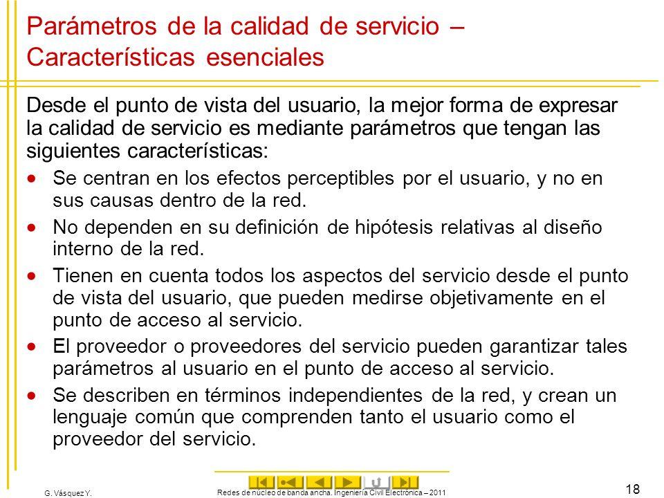 G. Vásquez Y. Parámetros de la calidad de servicio – Características esenciales Desde el punto de vista del usuario, la mejor forma de expresar la cal