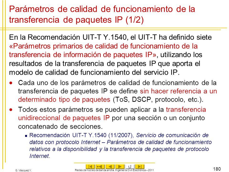 G. Vásquez Y. Parámetros de calidad de funcionamiento de la transferencia de paquetes IP (1/2) En la Recomendación UIT-T Y.1540, el UIT-T ha definido