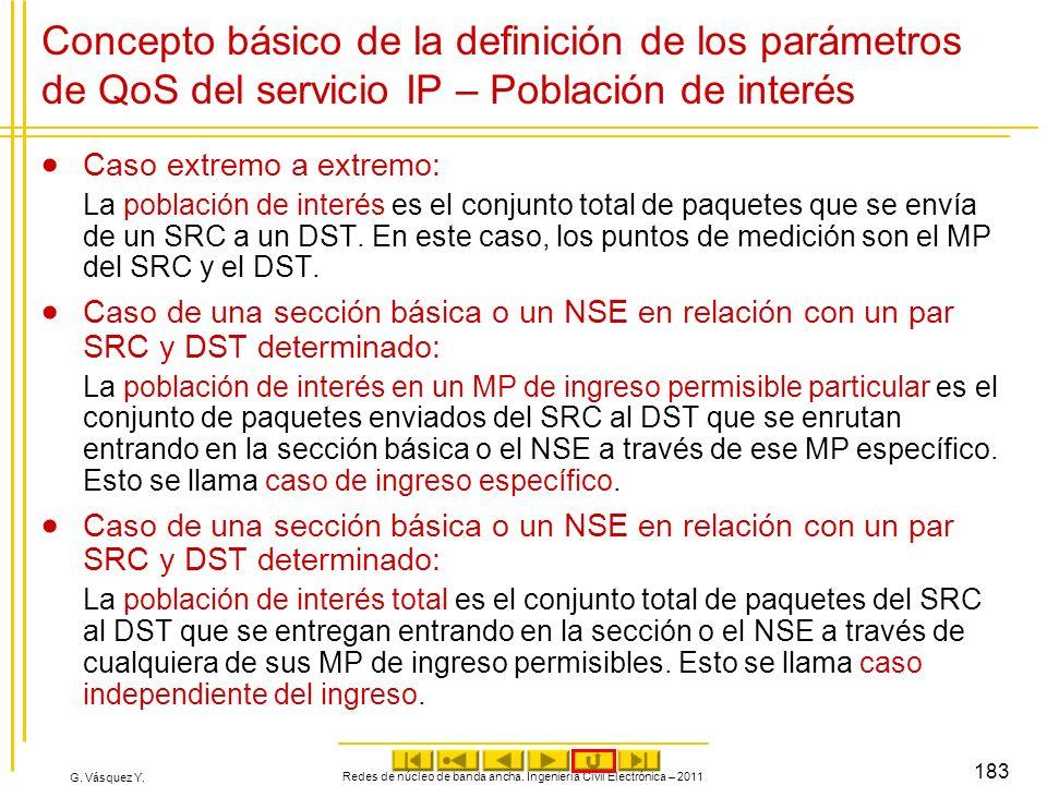 G. Vásquez Y. Concepto básico de la definición de los parámetros de QoS del servicio IP – Población de interés Caso extremo a extremo: La población de