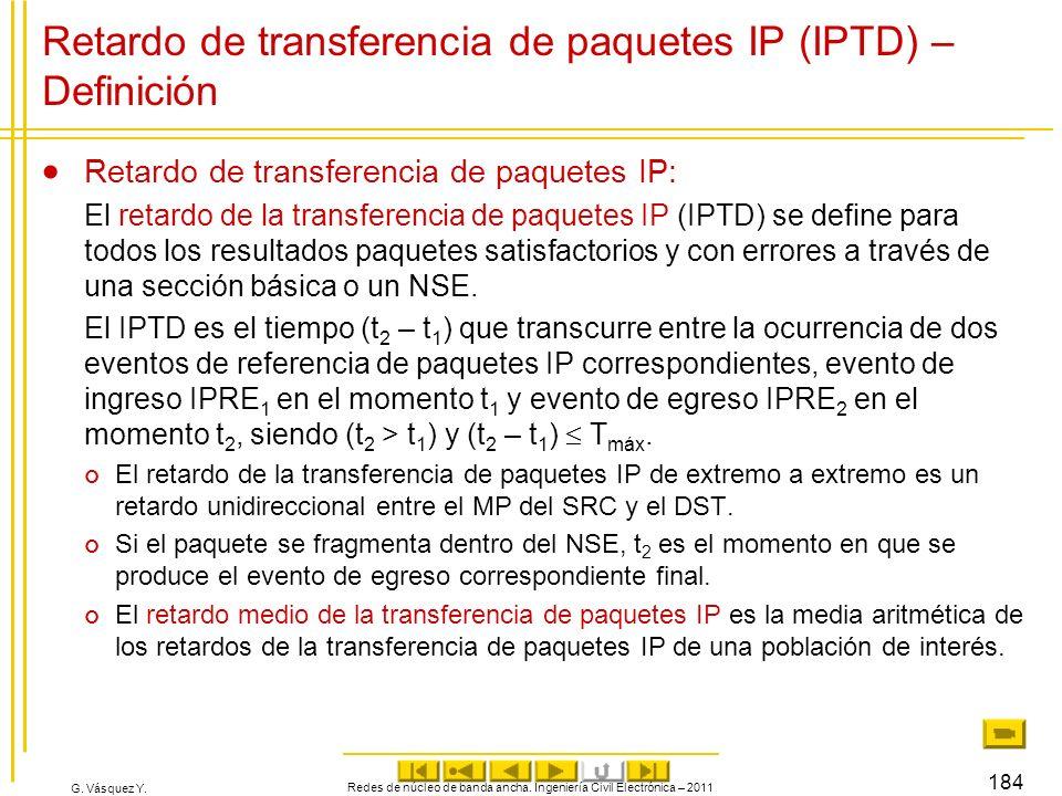 G. Vásquez Y. Redes de núcleo de banda ancha. Ingeniería Civil Electrónica – 2011 184 Retardo de transferencia de paquetes IP (IPTD) – Definición Reta