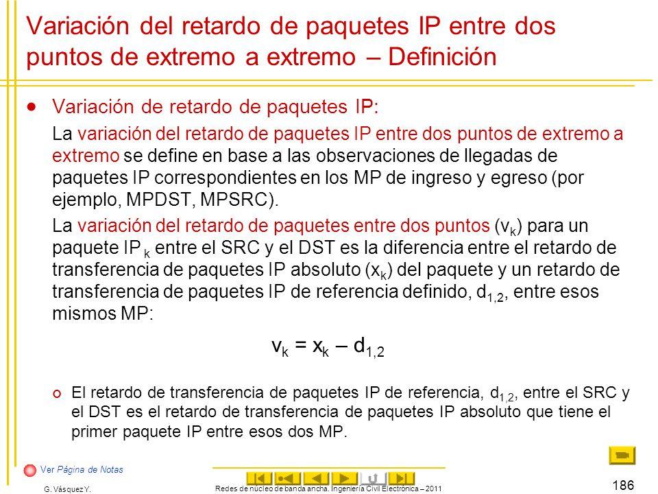 G. Vásquez Y. Redes de núcleo de banda ancha. Ingeniería Civil Electrónica – 2011 186 Variación del retardo de paquetes IP entre dos puntos de extremo
