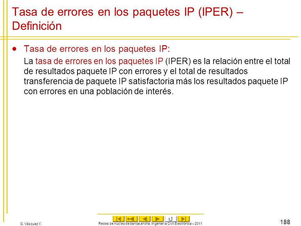 G. Vásquez Y. Tasa de errores en los paquetes IP (IPER) – Definición Tasa de errores en los paquetes IP: La tasa de errores en los paquetes IP (IPER)