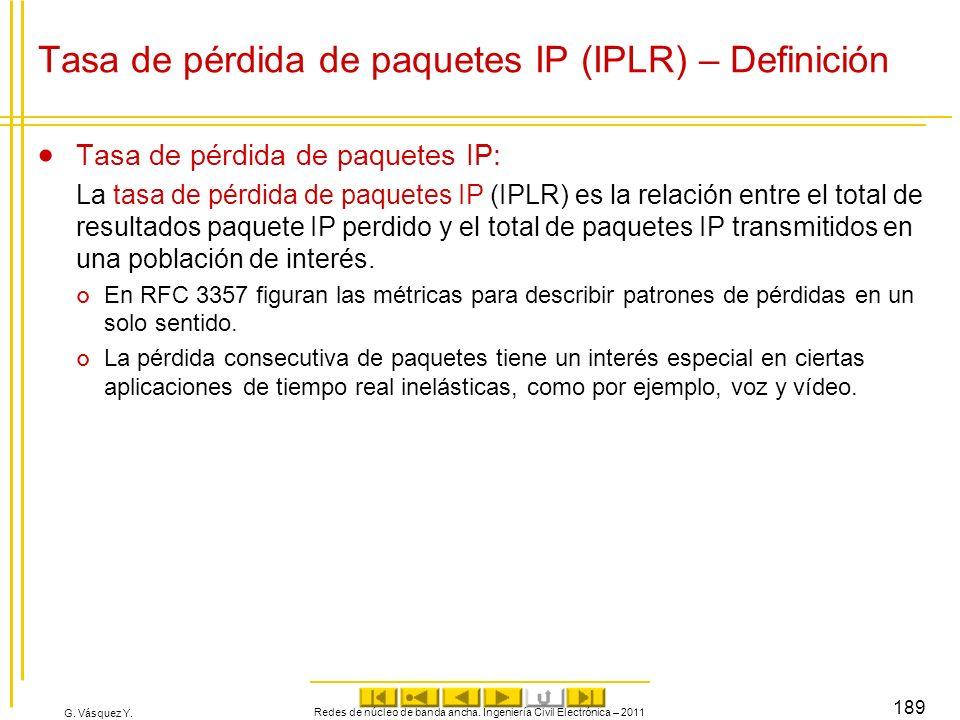G. Vásquez Y. Redes de núcleo de banda ancha. Ingeniería Civil Electrónica – 2011 189 Tasa de pérdida de paquetes IP (IPLR) – Definición Tasa de pérdi