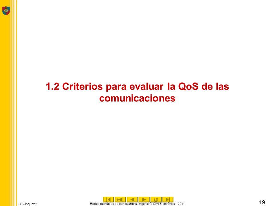 G. Vásquez Y. 1.2 Criterios para evaluar la QoS de las comunicaciones Redes de núcleo de banda ancha. Ingeniería Civil Electrónica – 2011 19