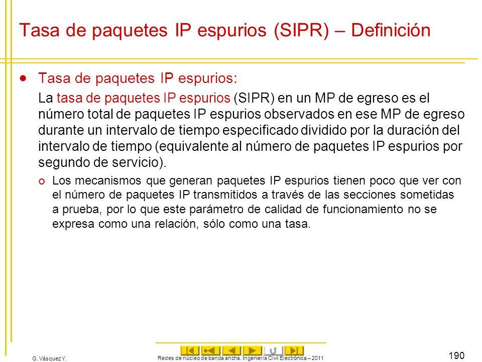 G. Vásquez Y. Redes de núcleo de banda ancha. Ingeniería Civil Electrónica – 2011 190 Tasa de paquetes IP espurios (SIPR) – Definición Tasa de paquete