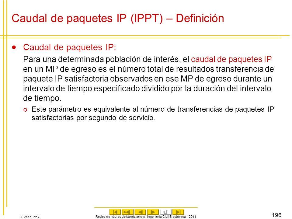 G. Vásquez Y. Redes de núcleo de banda ancha. Ingeniería Civil Electrónica – 2011 196 Caudal de paquetes IP (IPPT) – Definición Caudal de paquetes IP: