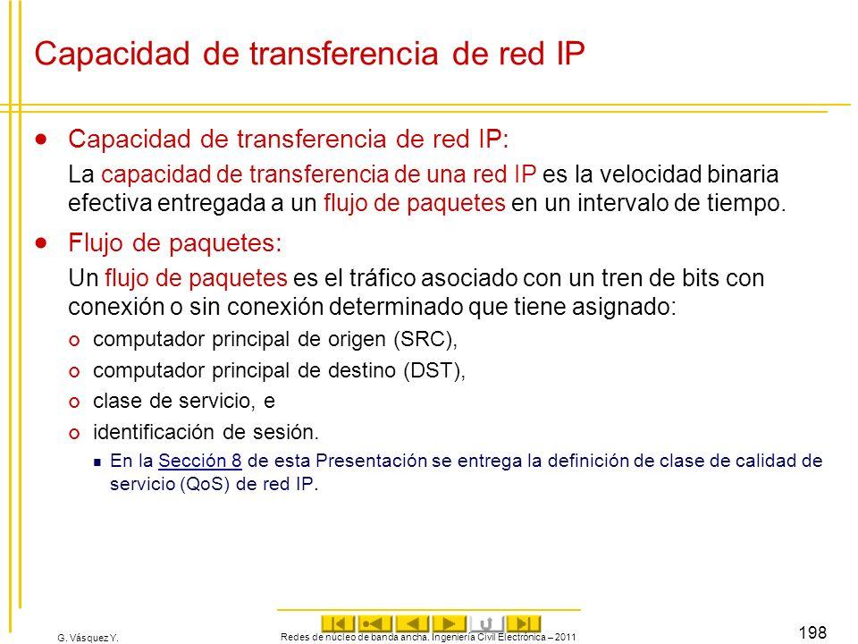 G. Vásquez Y. Redes de núcleo de banda ancha. Ingeniería Civil Electrónica – 2011 198 Capacidad de transferencia de red IP Capacidad de transferencia
