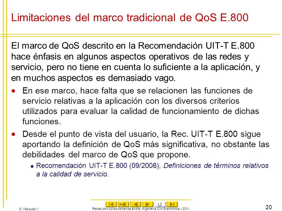 G. Vásquez Y. Limitaciones del marco tradicional de QoS E.800 El marco de QoS descrito en la Recomendación UIT-T E.800 hace énfasis en algunos aspecto
