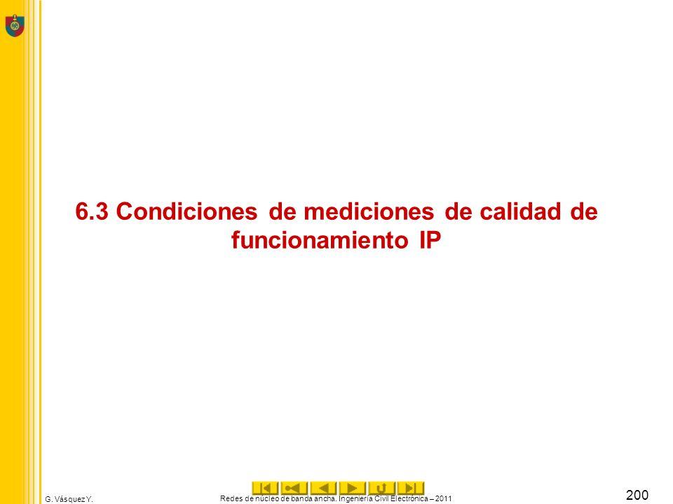 G. Vásquez Y. 6.3 Condiciones de mediciones de calidad de funcionamiento IP Redes de núcleo de banda ancha. Ingeniería Civil Electrónica – 2011 200
