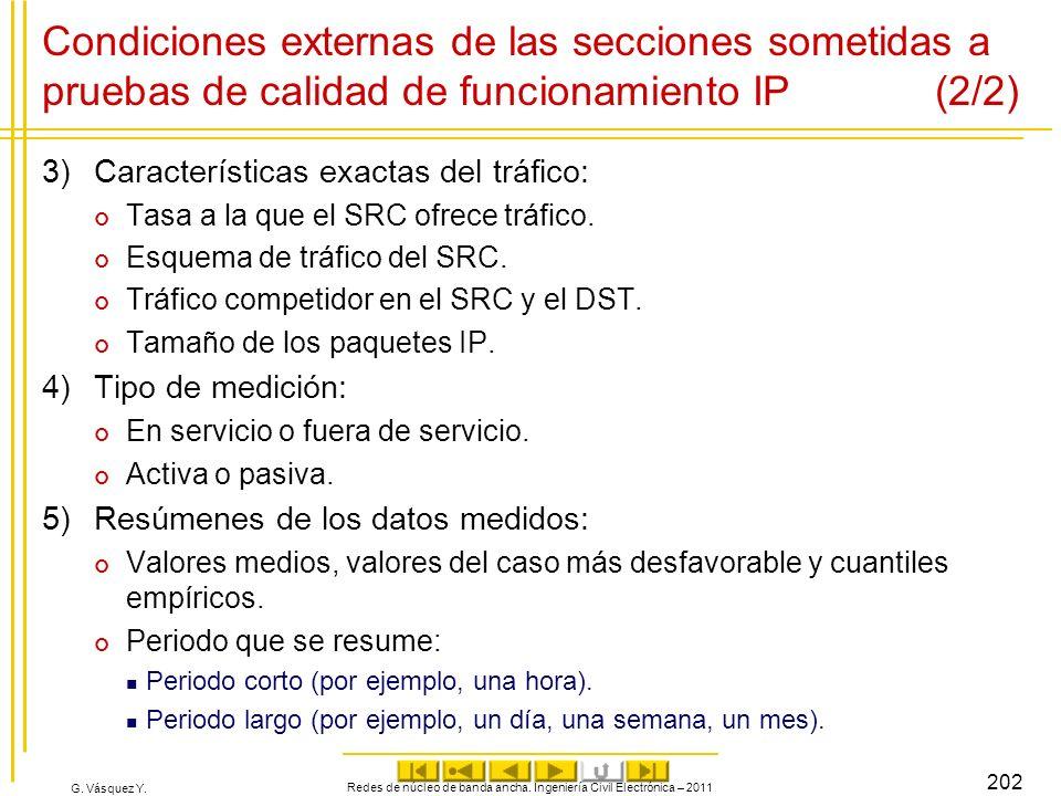 G. Vásquez Y. Condiciones externas de las secciones sometidas a pruebas de calidad de funcionamiento IP (2/2) 3)Características exactas del tráfico: T