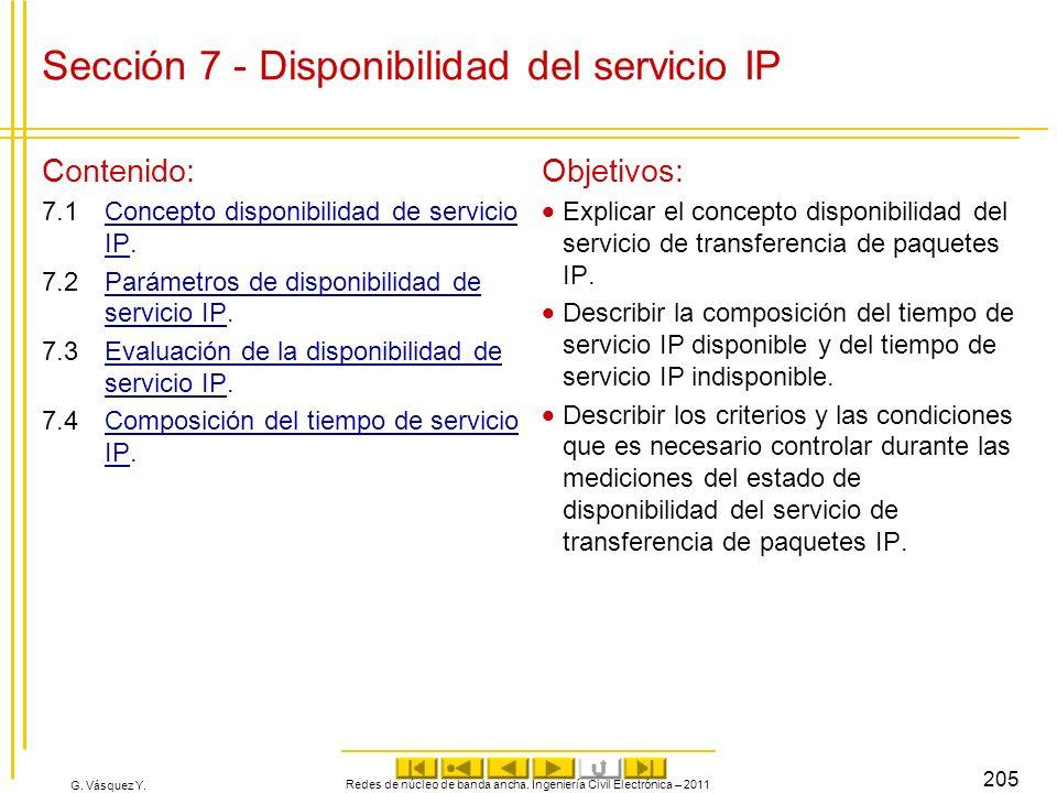 G. Vásquez Y. Sección 7 - Disponibilidad del servicio IP Contenido: 7.1Concepto disponibilidad de servicio IP.Concepto disponibilidad de servicio IP 7