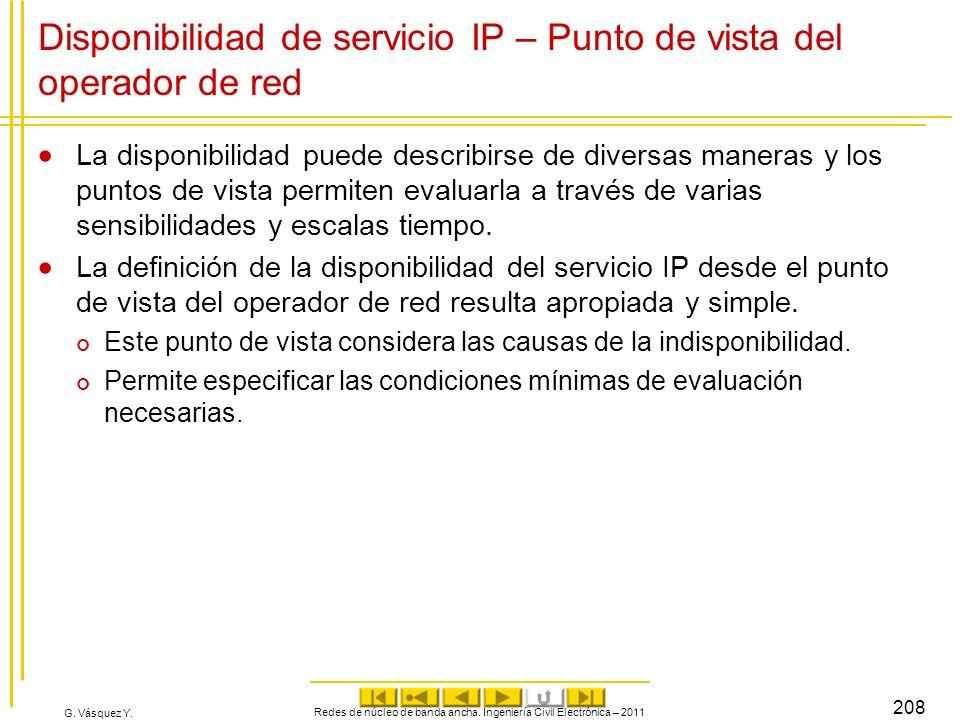 G. Vásquez Y. Redes de núcleo de banda ancha. Ingeniería Civil Electrónica – 2011 208 Disponibilidad de servicio IP – Punto de vista del operador de r