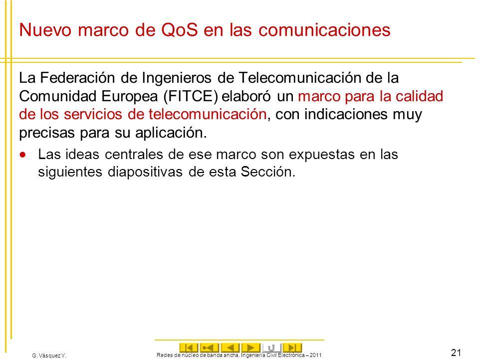 G. Vásquez Y. Nuevo marco de QoS en las comunicaciones La Federación de Ingenieros de Telecomunicación de la Comunidad Europea (FITCE) elaboró un marc