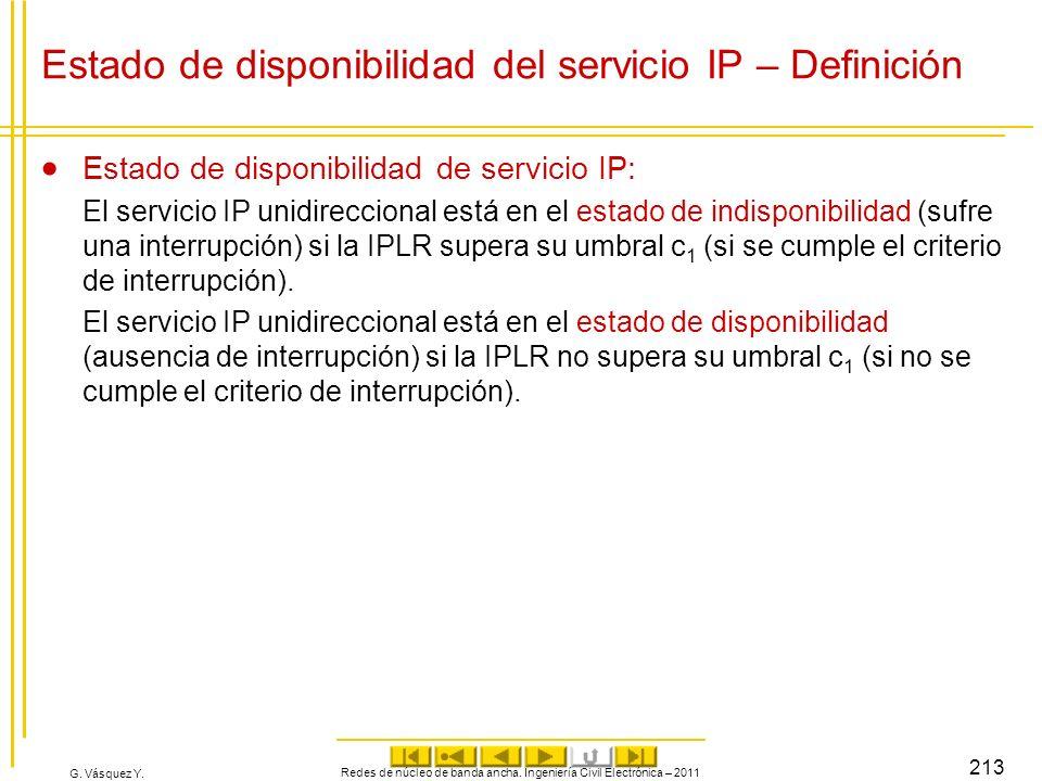 G. Vásquez Y. Redes de núcleo de banda ancha. Ingeniería Civil Electrónica – 2011 213 Estado de disponibilidad del servicio IP – Definición Estado de