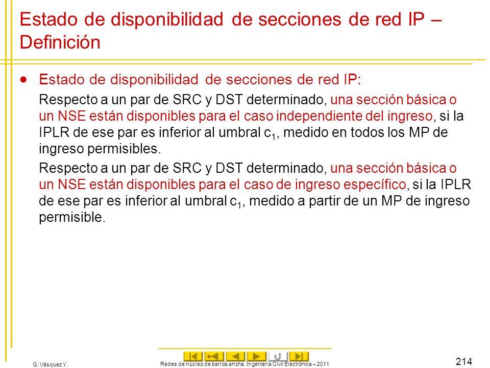 G. Vásquez Y. Redes de núcleo de banda ancha. Ingeniería Civil Electrónica – 2011 214 Estado de disponibilidad de secciones de red IP – Definición Est
