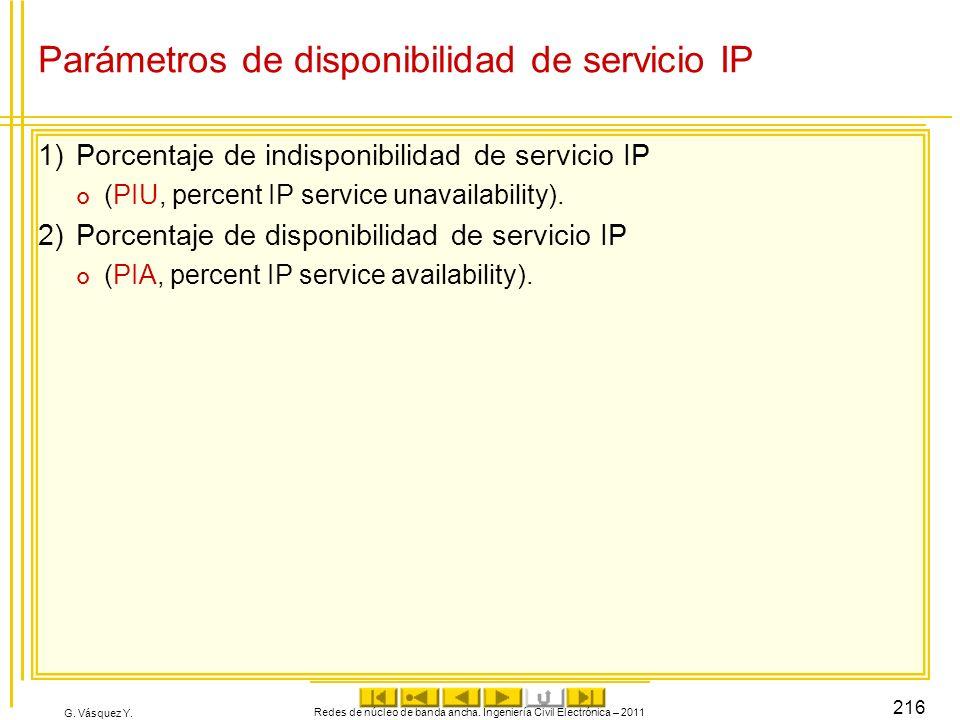 G. Vásquez Y. Parámetros de disponibilidad de servicio IP 1)Porcentaje de indisponibilidad de servicio IP (PIU, percent IP service unavailability). 2)