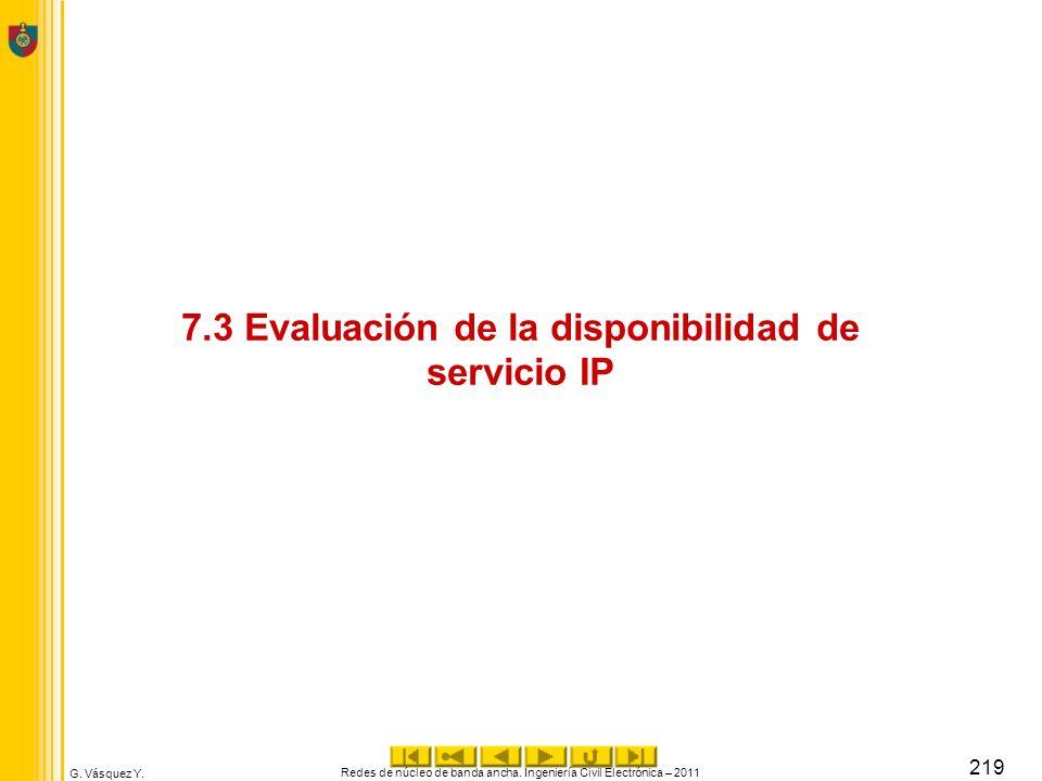 G. Vásquez Y. 7.3 Evaluación de la disponibilidad de servicio IP Redes de núcleo de banda ancha. Ingeniería Civil Electrónica – 2011 219