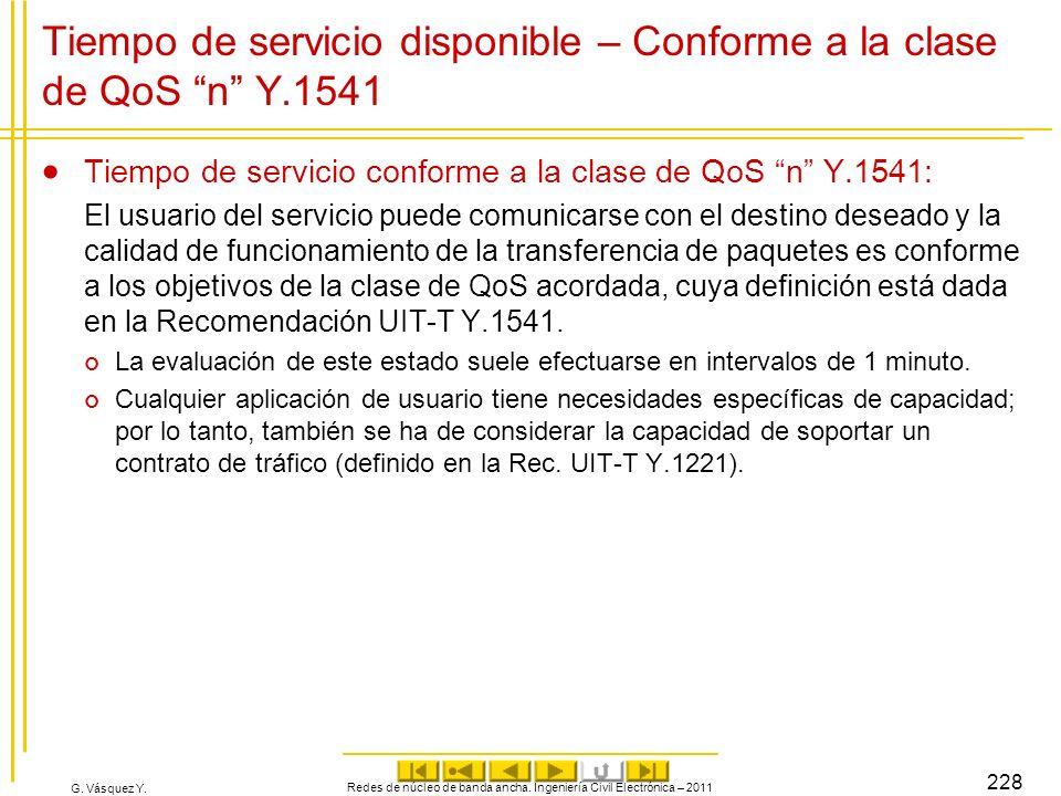 G. Vásquez Y. Tiempo de servicio disponible – Conforme a la clase de QoS n Y.1541 Tiempo de servicio conforme a la clase de QoS n Y.1541: El usuario d